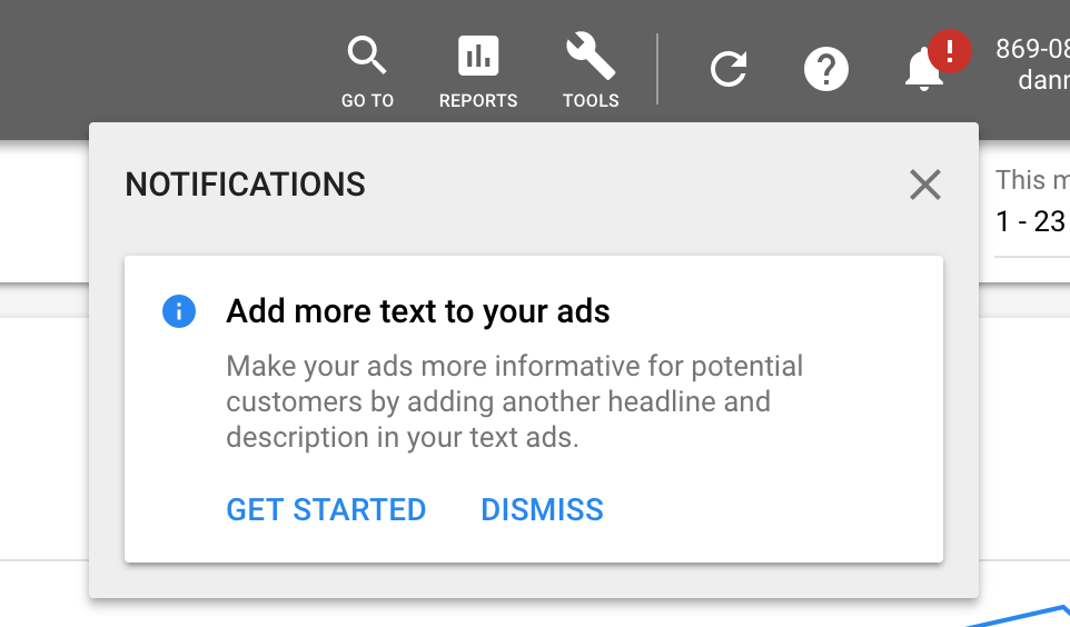 Google Ads Notification