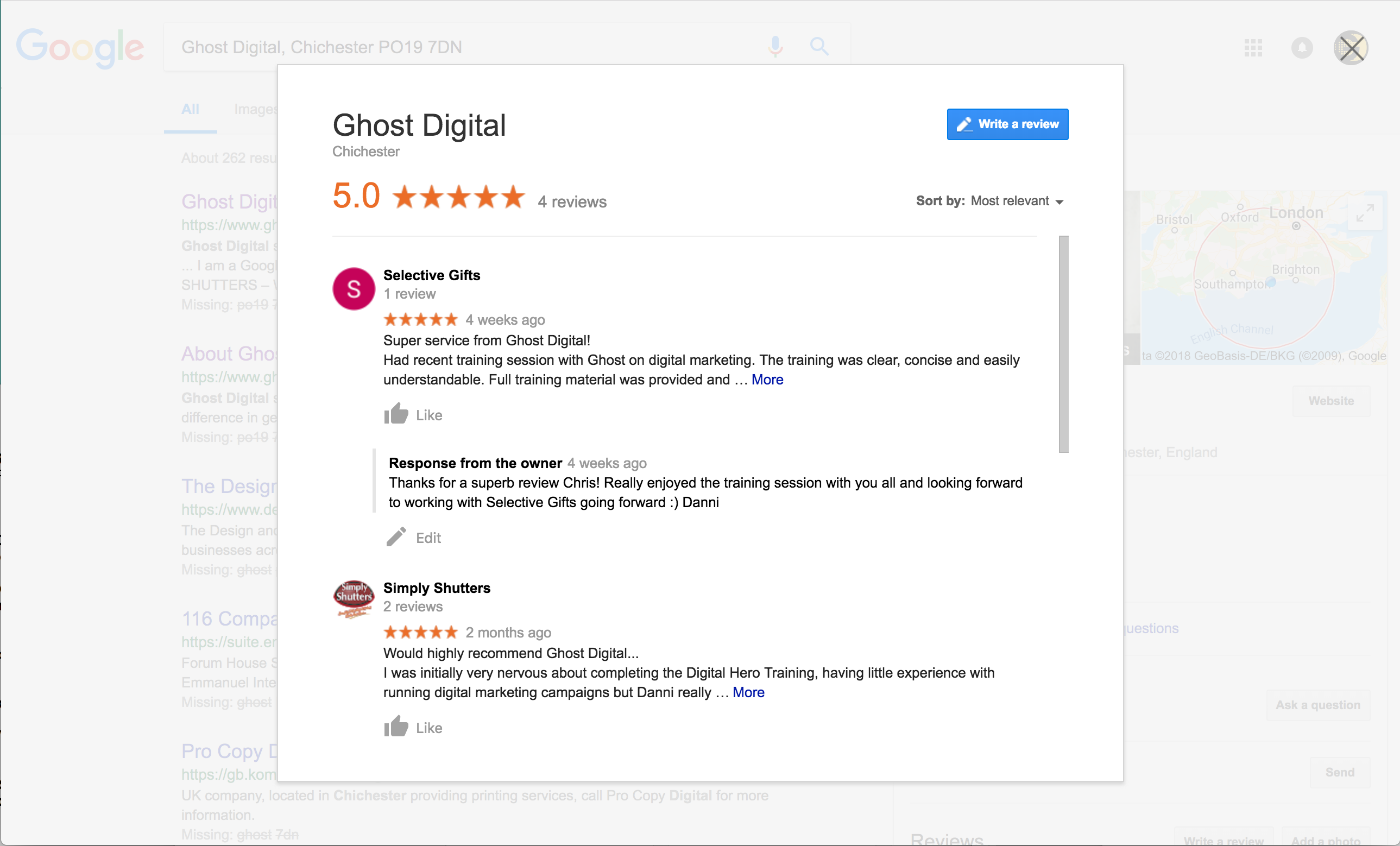Ghost Digital Google Reviews